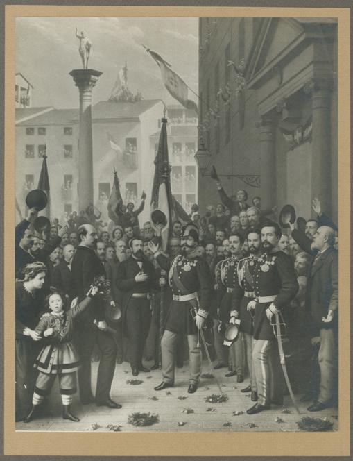 Vittorio Emanuele 2 nell' atto di decorare la bandiera del 10 Giugno 1848010.jpg